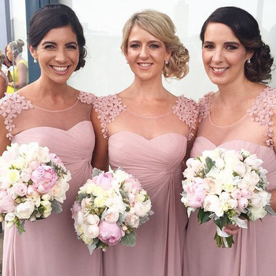 Pink Chiffon Long Bridesmaid Dresses Applique Bridesmaid Dresses A-Line Bridesmaid Dresses