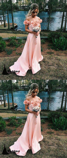Pink Flowers Long Prom Dresses Off the Shoulder Satin A-Line Evening Dress,HS406