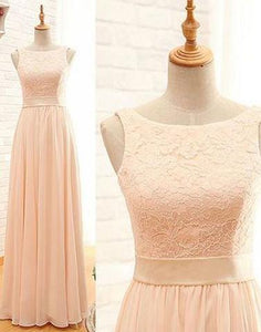 Pink Lace Bridesmaid Dresses Cheap Long Bridesmaid Dresses,HS564