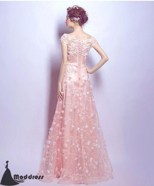 Pink Lace Long Prom Dress A-Line Evening Dress,Formal Dress