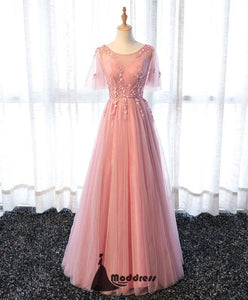 Pink Long Prom Dress Applique Evening Dress A-Line Tulle Formal Dress,HS485