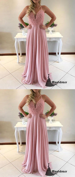 Pink Long Prom Dress Sweetheart  A-Line Chiffon Formal Evening Dress,HS437