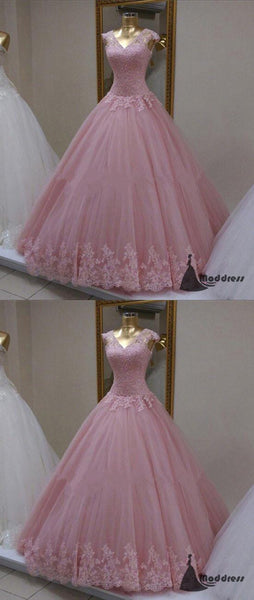Pink Long Prom Dress V-Neck Applique Lace Evening Dress Cap Sleeve Ball Gowns Formal Dresses,HS460