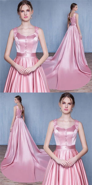 Pink Satin Lace up back Prom Dresses a-line Prom Gown, Evening Dresses,HS255