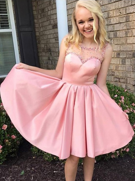 Pink Short Homecoming Dresses Beaded Short Homecoming Dresses