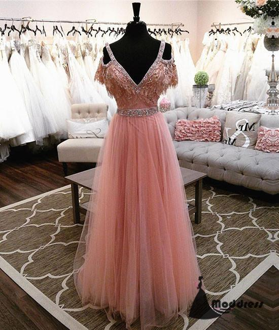 Pink V-Neck Lace Long Prom Dress Tulle A-Line Evening Dress,HS428