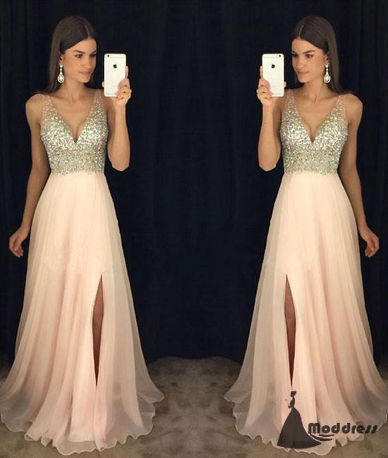 Pink V-Neck Long Prom Dress Sequins Chiffon Formal Evening Dress with High Slit,HS440