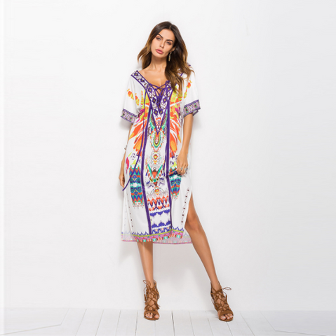 Plus Size Bohemian Dress Loose Beach Vacation Printed Side Slit Dress,CQ00030