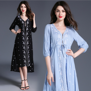 Bohemia Plus Size Embroidery National Wind Cotton Linen Dress Women Dress Casual Dress,CQ00013