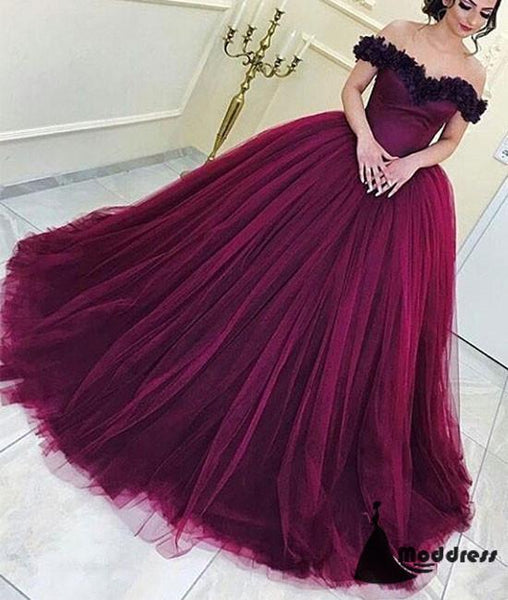 Purple Flowers Long Prom Dress Off the Shoulder Ball Gowns Tulle Evening Dress,HS430