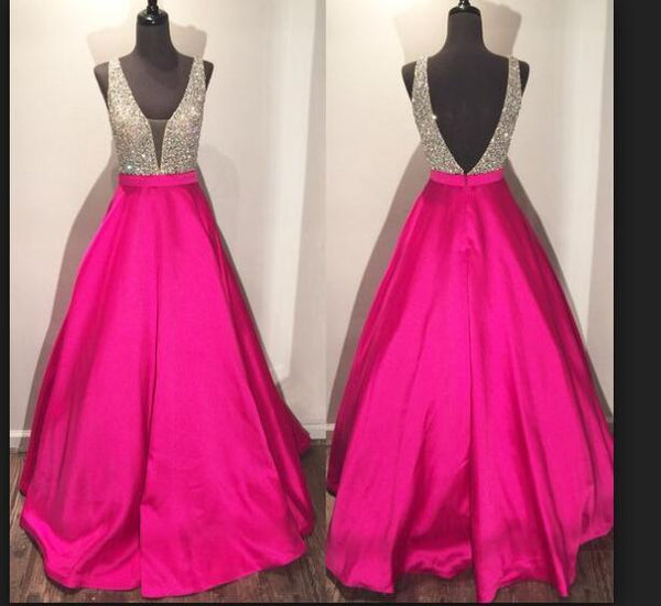hot pink prom dress, beaded prom Dress, A-line prom dress, charming prom dress, satin prom dress, BD392
