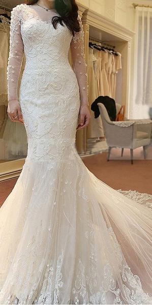 2018 modest scoop long sleeves mermaid tulle beaded long train wedding dress, WD107