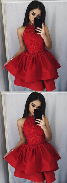 Red Lace Short Homecoming Dresses Knee Length Prom Dresses Sleeveless Evening Formal Dresses,MG005