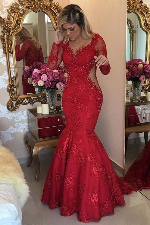 73dbd4c96487 Red Long Lace Party Dress – Unique Birthday Party Ideas and Themes