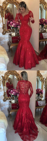 Red Prom Dresses Mermaid, Lace Formal Dresses V-neck, 2018 Party Dresses Long Sleeve, Tulle Evening Gowns,HS281