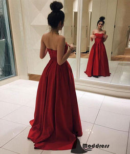 Red Strapless Long Prom Dresses Simple A-Line Satin Formal Evening Dress,HS439