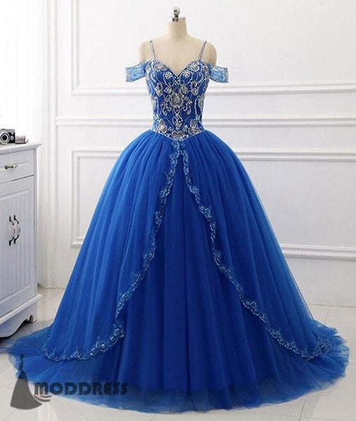 Royal Blue Long Prom Dress Off the Shoulder Beading Tulle Ball Gowns Sweetheart Evening Dress,HS385