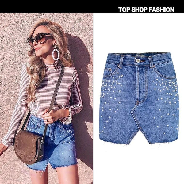 SS high-waisted Jeans Skirts Breasted Triangle Cut Pearl Diamond Studded Denim Bag Hip Skirts