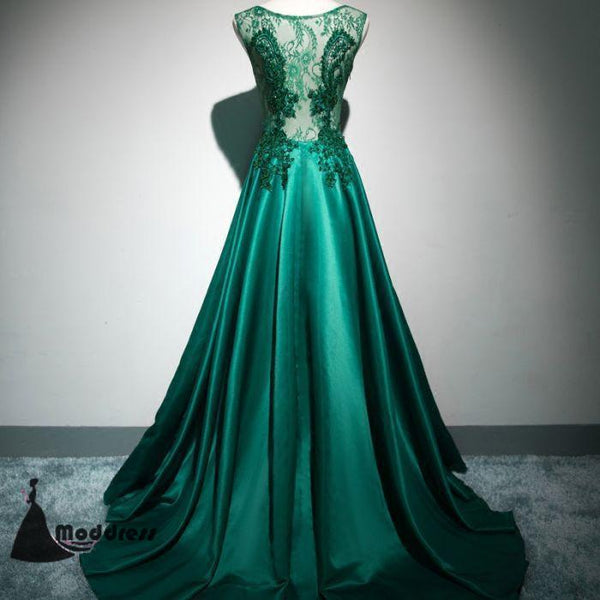 Scoop Brush Train Hunter Green Beading Lace Long Prom Dresses Applique Evening Dress,HS419