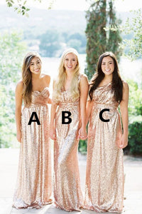 Sequins Long Bridesmaid Dresses Multi-Style Bridesmaid Dresses Simple Bridesmaid Dresses,MG0046
