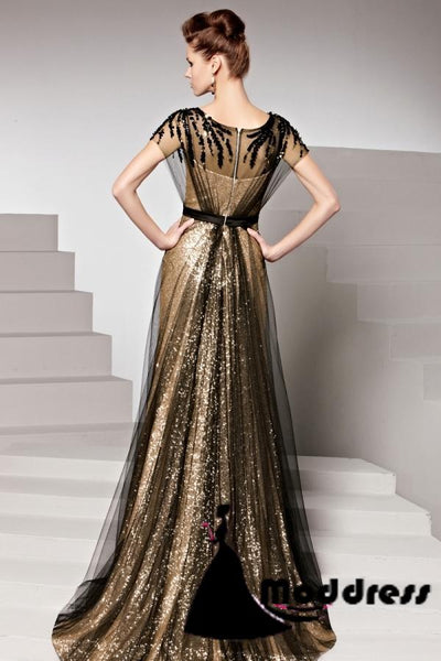 Sexy Black Long Prom Dresses Column Short Sleeve Scoop Sequins Evening Dress,HS312