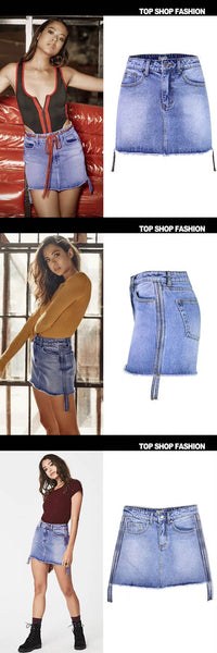 Sexy High Waisted Denim Skirt Waist Bag Hip Cowboy Washing All-Match A Ribbon With Two Sides,NZ0003