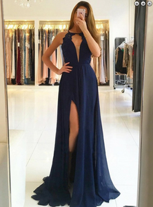 Sexy Lace Long Prom Dresses Backless Evening Formal Dresses with High Slit