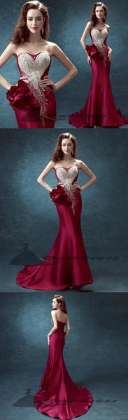 Sexy Long Prom Dress Mermaid strapless beading Evening Dress,HS325