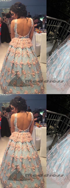 Sexy Long Prom Dresses V-neck Backless Applique Ball Gowns Evening Dress,HS326