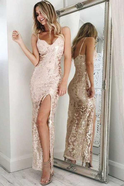 Sexy V-Neck Long Prom Dresses Illusion Evening Formal Dresses with High Slit