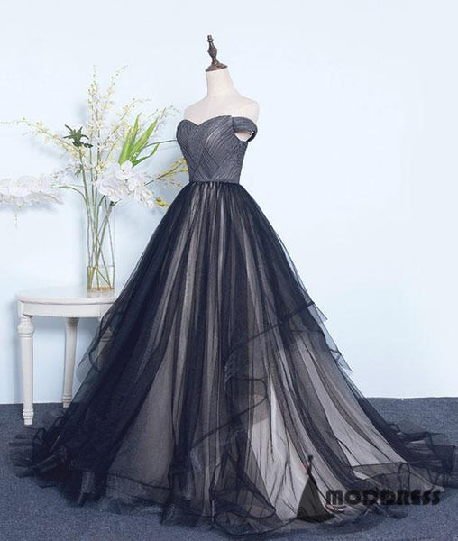 Simple Black Long Prom Dress Off the Shoulder Sweetheart Tulle A-Line Evening Dress,HS388