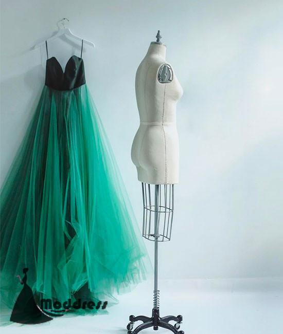 Simple Green Long Prom Dresses Tulle A-Line V-Neck Evening Dress,HS436