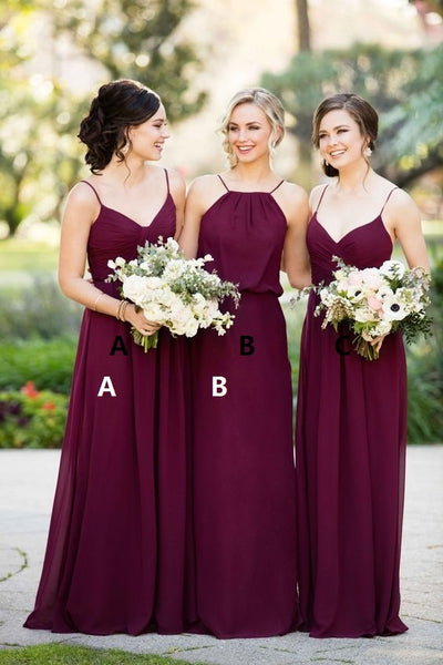 Simple Long Bridesmaid Dresses Chiffon Bridesmaid Dresses A-Line Bridesmaid Dresses