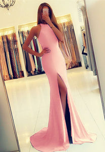 Simple Long Bridesmaid Dresses Mermaid Bridesmaid Dresses with High Slit,MG0079