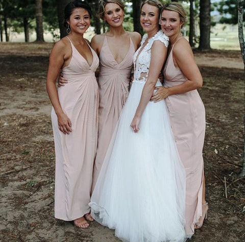 Simple Long Bridesmaid Dresses V-Neck Bridesmaid Dresses Backless Cross Back Bridesmaid Dresses