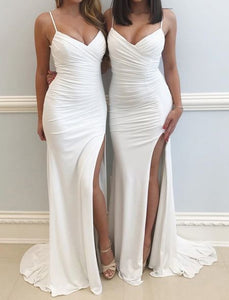 Simple Long Bridesmaid Dresses V-Neck Bridesmaid Dresses Spaghetti Straps Bridesmaid Dresses with High Slit