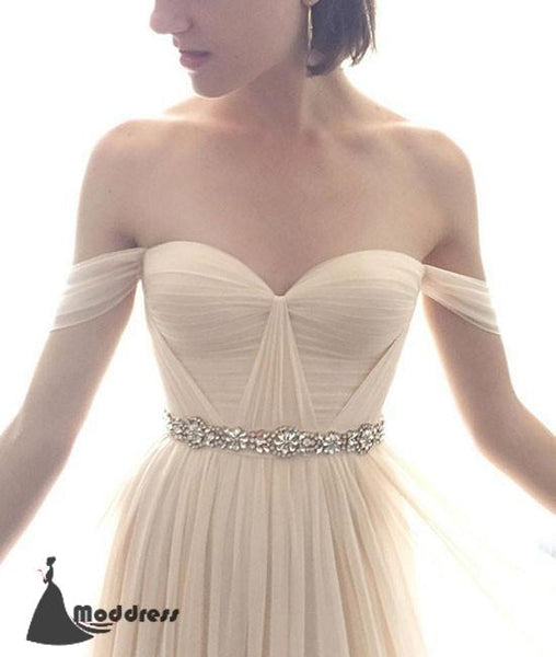 Simple Long Prom Dresses Off the Shoulder Evening Dress Beading Formal Dress,HS471