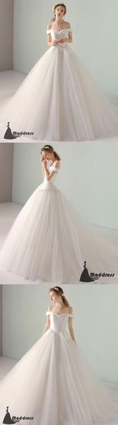 Simple Long Prom Dress Off the Shoulder Wedding Dress Tulle White Formal Dress,HS497