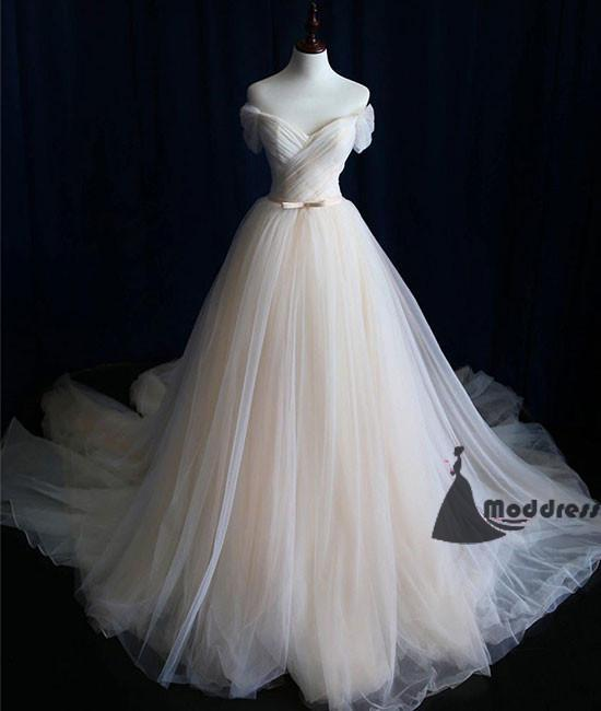 Simple Long Prom Dress Tulle OFF the Shoulder A-Line Fairy Evening Dress,HS396