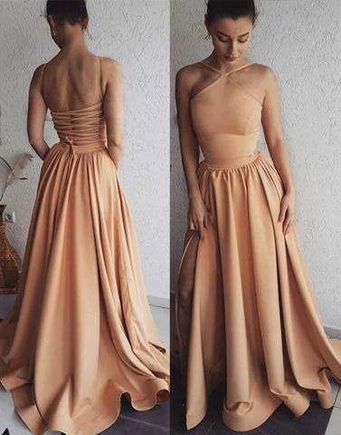 Simple Long Prom Dresses A-Line Evening Dresses Tie Back Formal Dresses