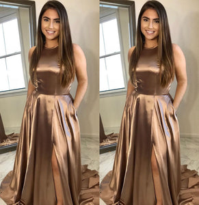 Simple Long Prom Dresses A-Line Evening Formal Dresses with High Slit