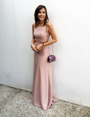 Simple Long Prom Dresses Backless Evening Dresses A-Line Formal Dresses