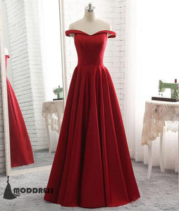Simple Long Prom Dress Off the Shoulder Satin A-Line Evening Dress,HS386