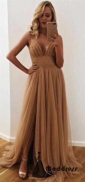Simple Long Prom Dress Sweetheart Tulle Evening Dress High Slit Formal Dress,HS466