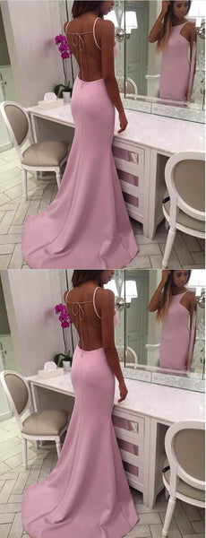 Simple Mermaid Long Prom Dresses Backless Sleeveless Evening Formal Dresses