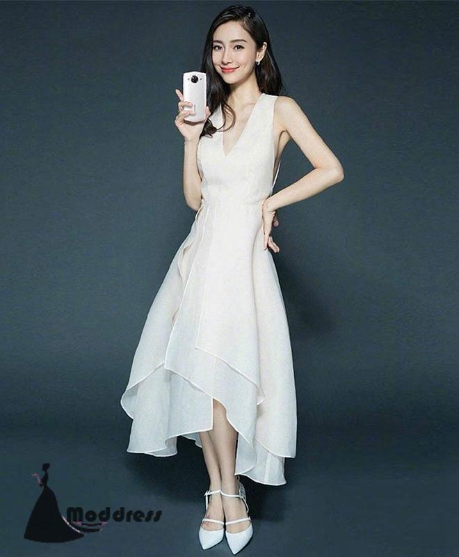 Simple Short Prom Dress V-Neck White Evening Dress Formal Dress,HS481