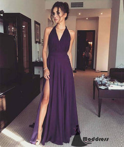 Simple V-Neck Long Prom Dress Purple Evening Dress with High Slit,HS423