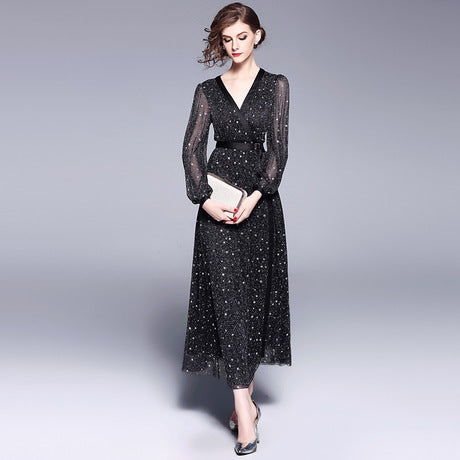 Sky Stars Long Dresses Beading V-Neck Casual Dresses Puffy Sleeve Women Business Dresses,CQ0003