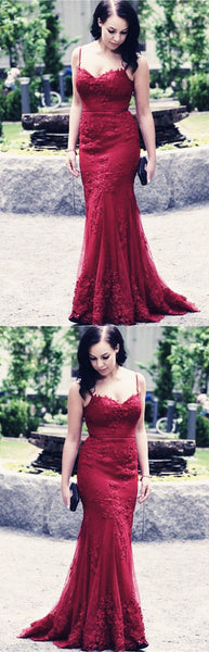 Spaghetti Straps Long Prom Dresses Lace Evening Dresses Mermaid Formal Dresses