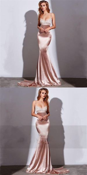 Spaghetti Straps Simple Sexy Lace Formal Mermaid Prom Dresses, Party Dresses,HS154